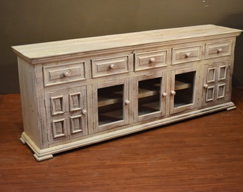 rustic solid wood distressed whitewashed 83 inch white tv stand media console - Distressed White Tv Stands