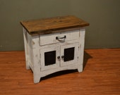 Rustic Solid Wood Nightstand End Table with a drawer and Mesh Doors Storage Cabinet