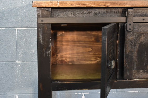 Peachy Rustic Farmhouse Style Solid Wood Barn Door Sofa Table Media Console In Distressed Black Finish Creativecarmelina Interior Chair Design Creativecarmelinacom