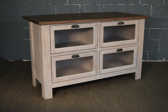Rustic Farmhouse Style Solid Wood Kitchen Island with Four Glass Door  Shelves and Overhang for Stools - Rustic White