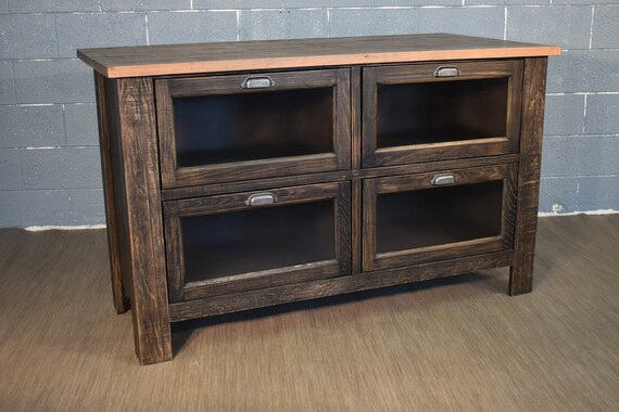 Rustic Farmhouse Style Solid Wood Kitchen Island with Four Glass Door  Shelves and Overhang for Stools - Rustic Black