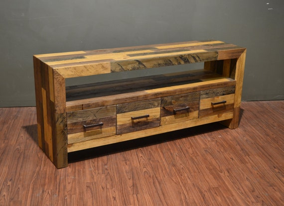 Rustic Solid Wood 65 Inches Tv Stand Media Console Console Etsy
