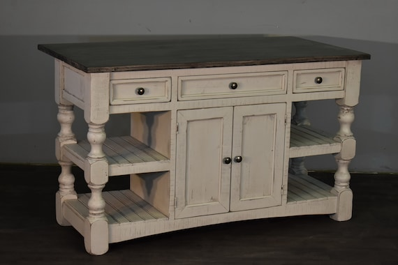 Distressed White Kitchen Island with Open Side shelves and Over Hang for  Seating