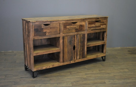 Rustic Farmhouse Style Solid Wood 60 inch TV Stand  Sideboard  Console