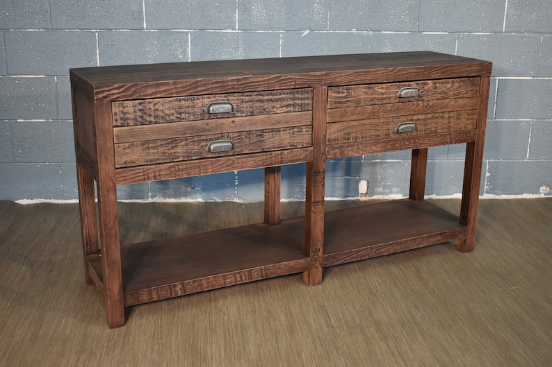 Rustic Style Solid Wood 58 2-Drawer Sideboard Console Table