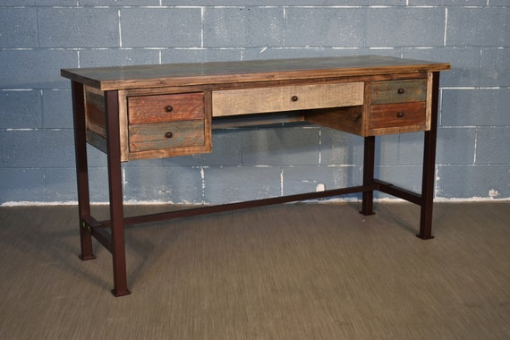 rustic antique style 60 inch desk library table with multi etsy rh etsy com 60 inch desk with hutch 60 inch desk with drawers