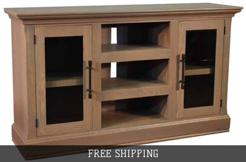 65 Inch Oak Tv Stand Sideboard With Glass Doors Whitewash