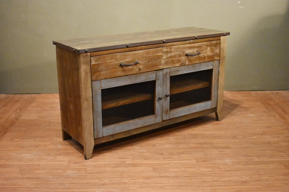 Industrial Rustic Reclaimed Wood Tv Stand Media Console Etsy
