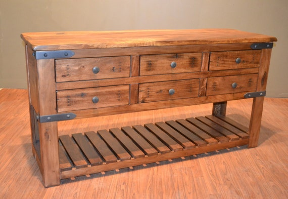 Rustic Solid Wood Sideboard Buffet Console Table Sofa Etsy