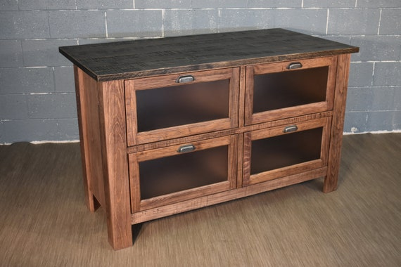 Rustic Farmhouse Style Solid Wood Kitchen Island with Four Glass Door  Shelves and Overhang for Stools - Rustic Walnut