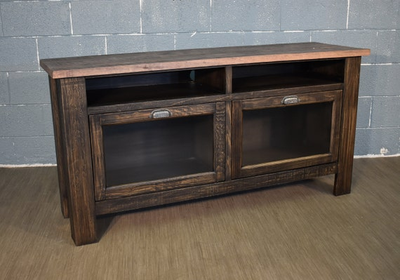 Rustic Farmhouse Style Solid Wood 60 Inch Tv Stand Media Etsy