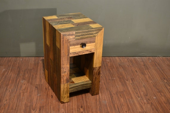 Surprising Rustic Solid Wood Narrow Side Table With Drawer And Bottom Shelf Reclaimed Wood Nightstand Pdpeps Interior Chair Design Pdpepsorg