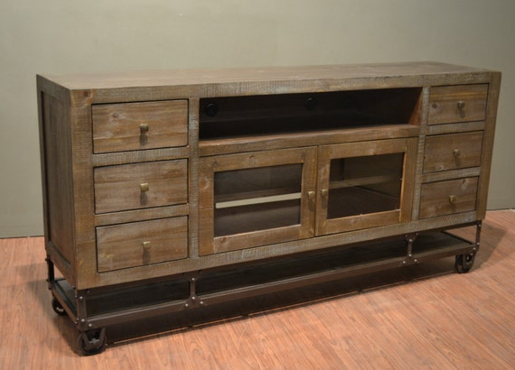 Industrial Rustic Reclaimed Wood 76 Inch Tv Stand Media Etsy