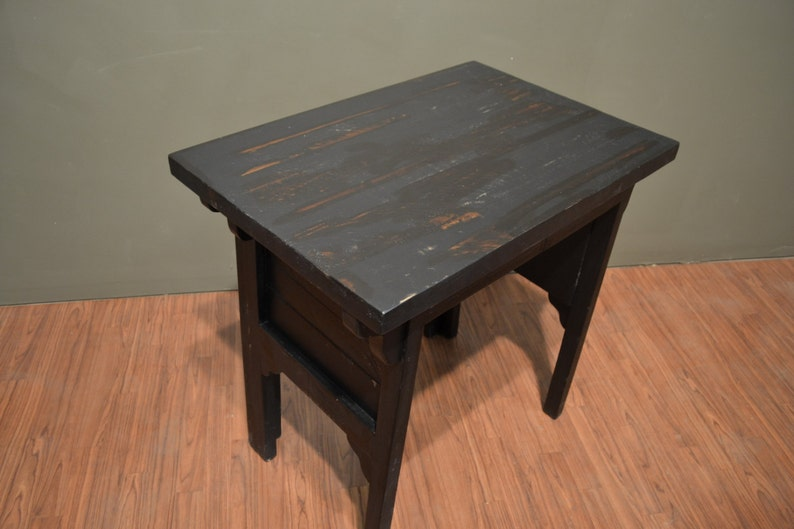 Rustic Distressed wood Black Desk and Chair  Writing table  Library Table with Carved Back Chair