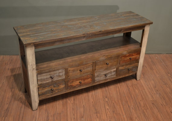 Rustic Solid Wood 55 Inches Wide Tv Stand Media Console Sofa Etsy