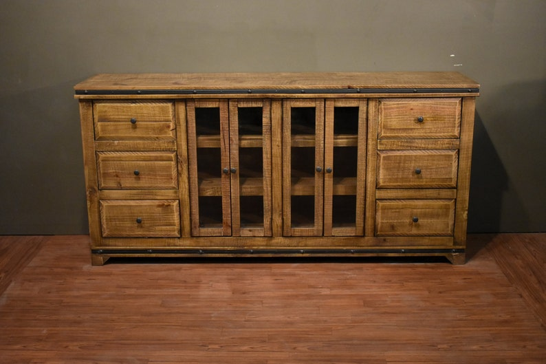 Rustic Solid Wood 75 Inch Sideboard  Media Console  Multi Purpose Cabinet