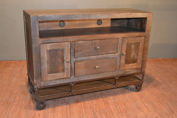Industrial Rustic Reclaimed Wood Tv Stand Media Console On Etsy