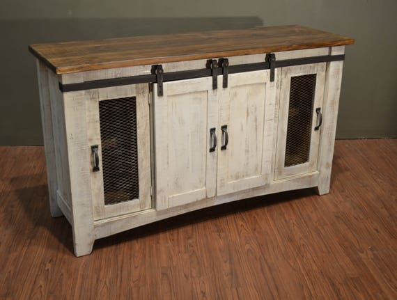 sports shoes 5daa2 ec734 Rustic Solid Reclaimed wood 70 inch TV stand Media Center / Sideboard with  4 doors and shelves