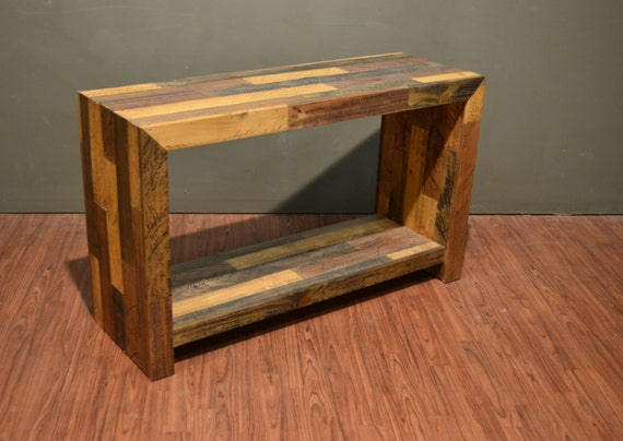 Rustic Solid Wood Plank Console Table Sofa Table With Bottom Etsy