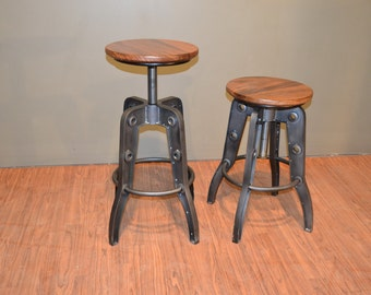 Reserved For Sandragamboa1 Industrial Style Rustic Solid Wood Swivel Stool  With Adjustable Height   Local Pick