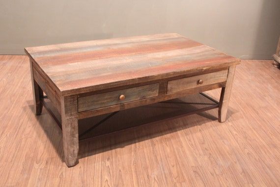 Antique Rustic Style Solid Wood Coffee Table With Drawers Etsy