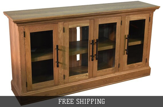 85 Inch Oak Tv Stand Sideboard With Glass Doors Natural Etsy