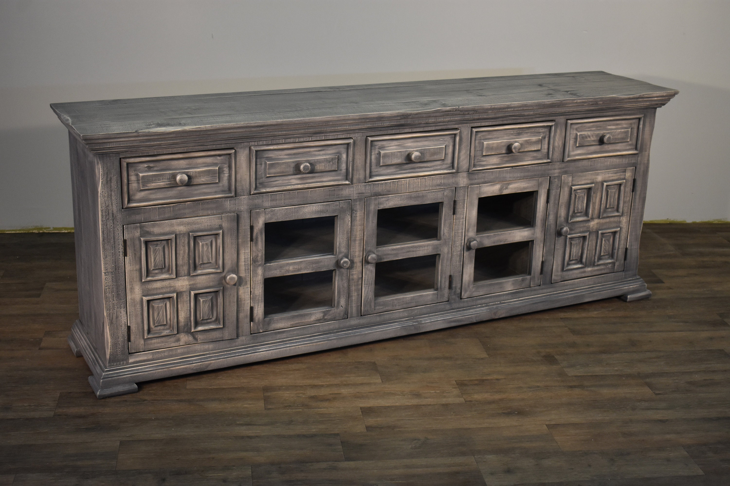 Rustic Solid Wood Distressed Whitewashed 83 Inch Gray TV