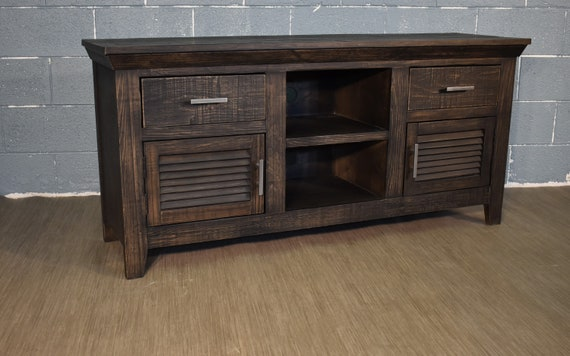 Rustic Black Solid Wood 60 Inch Tv Stand Media Console Etsy