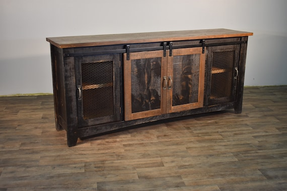Rustic Solid Reclaimed Wood 80 Inch Tv Stand Media Center Etsy