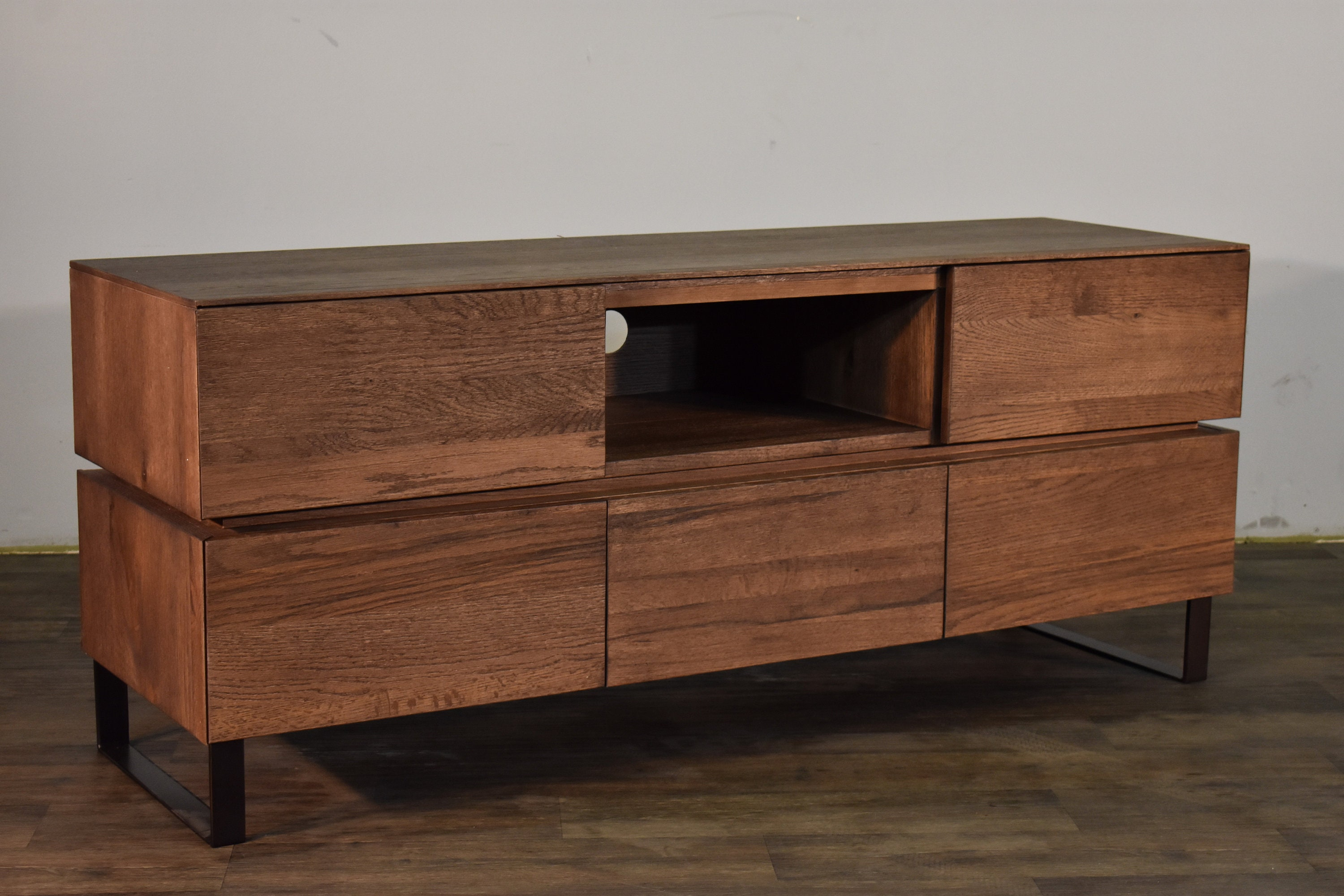 Rustic Mid Century Style Oak Tv Stand Media Console With Etsy