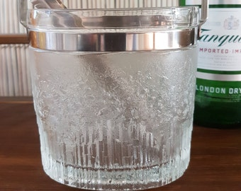 Vintage Glass Ice Bucket Oval Ice Bucket Mad Men Barware, Glass and Stainless Steel, Mixology, Bar Cart