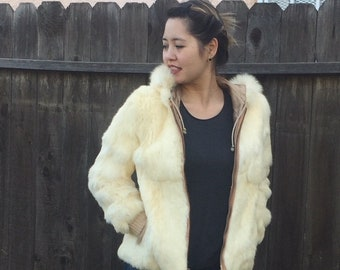 60s cream fur zip up hoodie
