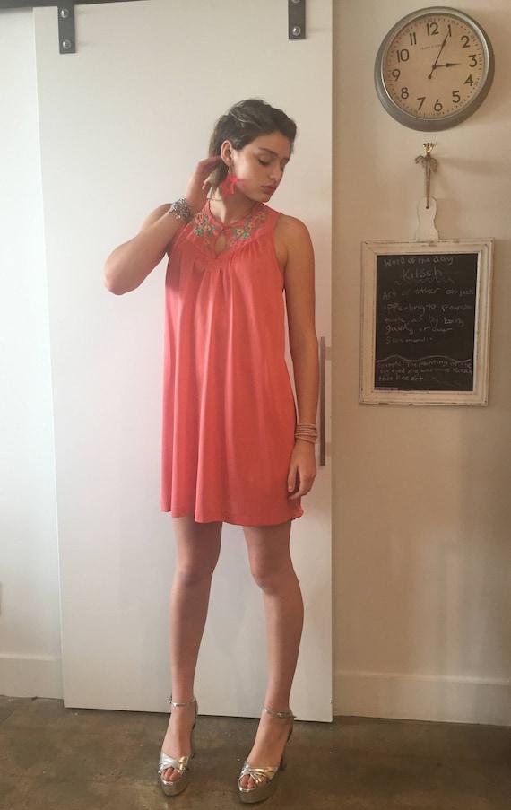 Salmon pink slip dress