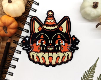 Retro Halloween Cat Sticker