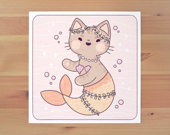 Little Purrmaid Print - Yellow Tail