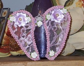 Purple Pink Angel Wings Lace Ornament Shabby Chic Home Décor Valentines Day