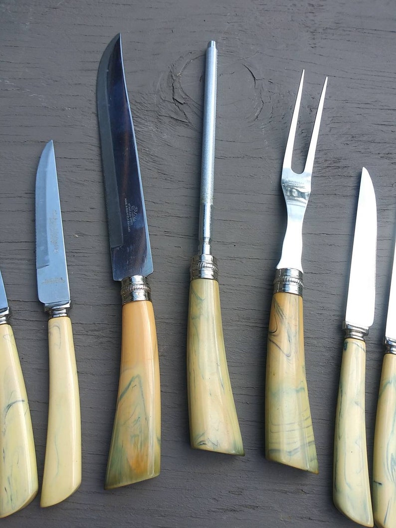 MidCentury Old English Cutlery Co Carving Set Sheffield England Includes 6 Steak Knives Yellow Marbelized Bakelite Handles