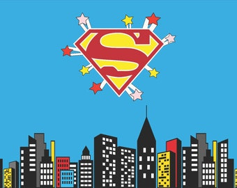 Superman Birthday Party Backdrop Background Decorations Decorate