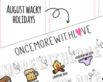 Wacky Holidays - August 2018 Planner Stickers (2018 - W08)
