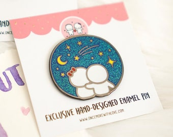 """Pin // """"To The Moon and Back"""" Silver-Coloured Limited Edition Hard Enamel Lapel Pin with Glitter (Pin - NIGHT)"""