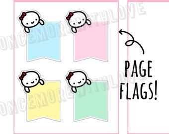 Munchkins -  Vertical Pastel Peeking Munchkin Flags Planner Stickers (M292)