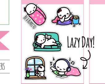 Munchkins - Lazy Day Relax, Read, Listen to Music, and Turn into A Burrito Planner Stickers (M143)
