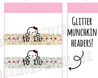 Munchkins -  Faux Glitter Champagne and Silver Peeking Munchkin Weekly To Do Headers Planner Stickers (M297)
