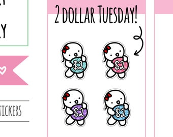 Munchkins - Glittery Toonie Two Dollar Tuesday Planner Stickers (M174)