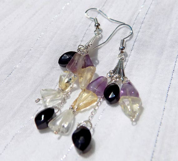 Boucles d/'oreilles en quartz cristal de roche monture argent 925
