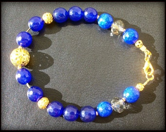 Gold plated bracelet blue Sapphire (gemstone)
