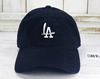 801f1481 LA Barbers Dad Hat Embroidered Baseball Cap Curved Bill Barber Shop Los  Angeles Dodgers
