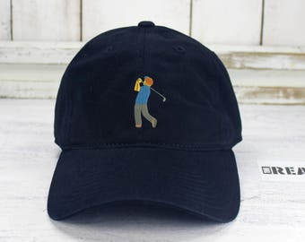 8032d13e8de538 Golf Emoji Dad Hat Golfer Embroidered Baseball Cap Curved Bill 100% Cotton  Colors Available