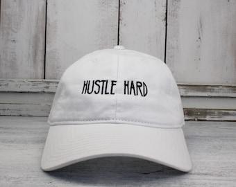 c825532d08410 Hustle Hard Dad Hat Lit Embroidered Baseball Cap Curved Bill 100% Cotton  Hustler