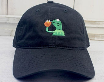 6bd358612f9 None of My Business Kermit Meme Dad Hat Curved Bill Baseball Cap 100% Cotton